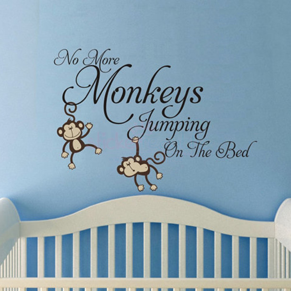 'No More Monkeys Jumping On The Bed' Monkey Wall Sticker