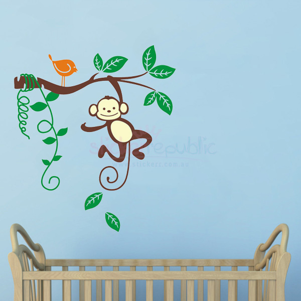 Monkey Hanging Over the Branch and Vines Wall Sticker