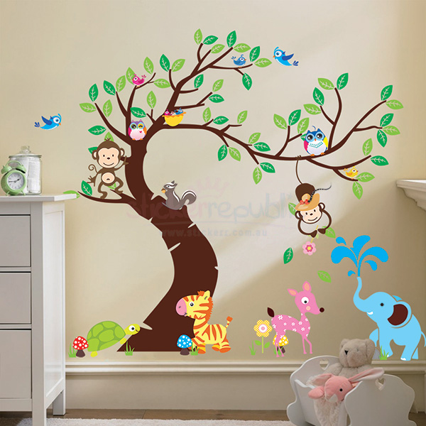 Monkeys Hanging Over a Colourful Tree Wall Decal|Cute Animals and Large Tree Wall Sticker