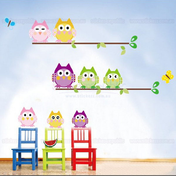 Owls Family Wall Sticker [A & B Combo]