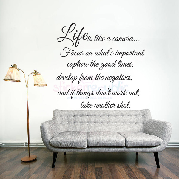 'Life Is Like A Camera' Words and Quotes Wall Sticker