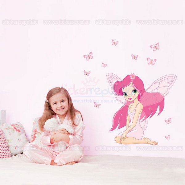Tinker Bell and Butterfly Wall Decal|Pink Fairy and Butterfly Wall Sticker for Girl's Room Decor