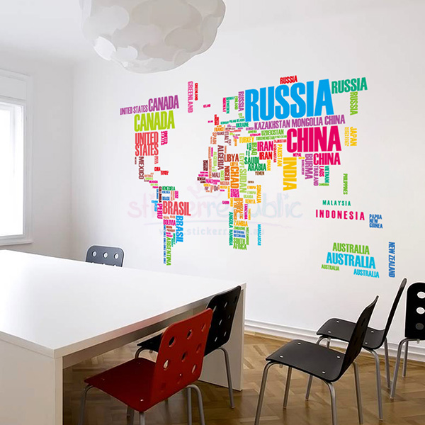 Colourful World Map Wall Decal|Words World Map Wall Sticker