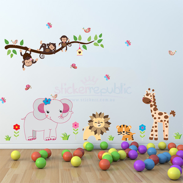 Cute Animal and Tree Branch Wall Sticker|Jungle Animal Wall Decal