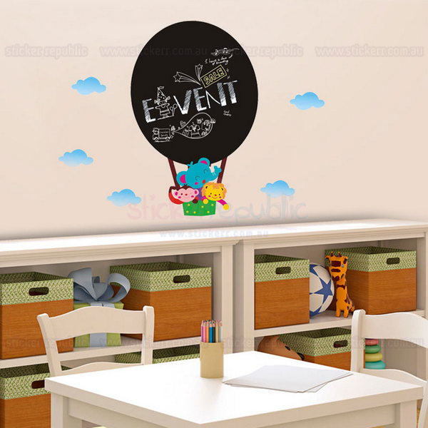 Hot Air Balloon Chalkboard Wall Decal Sticker