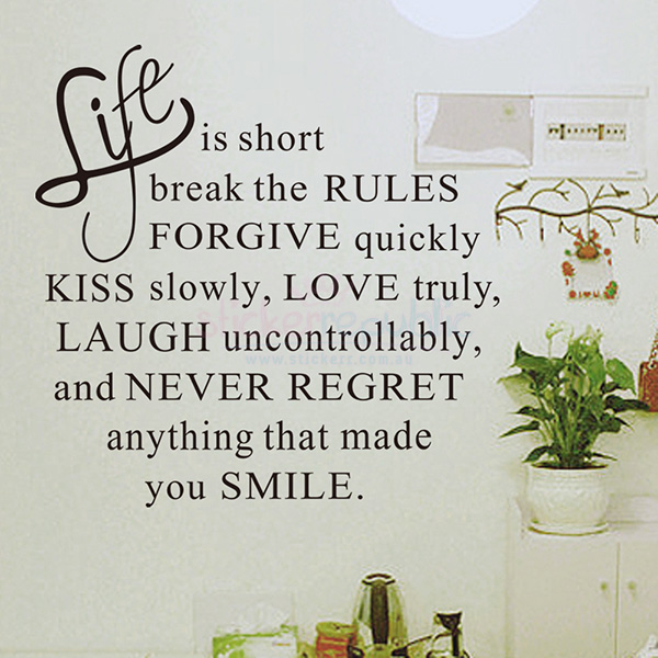Life is Short Words Wall Sticker