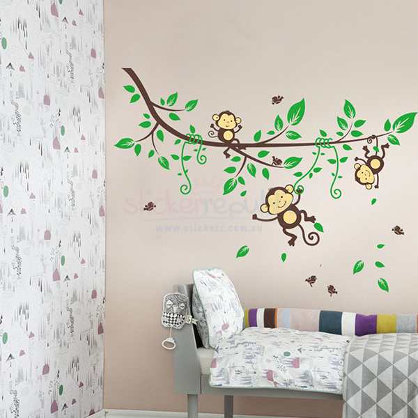 Three Monkeys Hanging Over the Vines Wall Decal