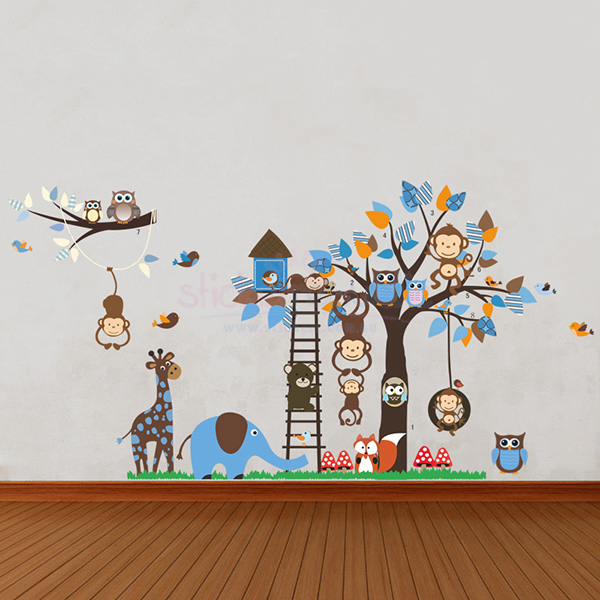 Large Boys' Animal Tree and Ladder Wall Decal