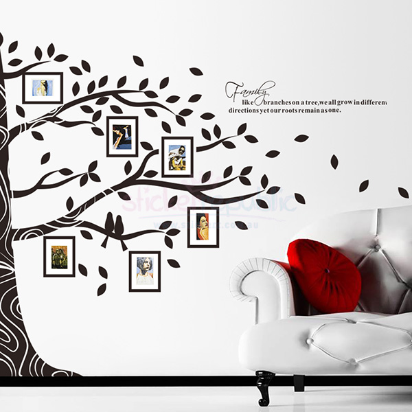 Large Black Family Photo Frame Tree Wall Decal