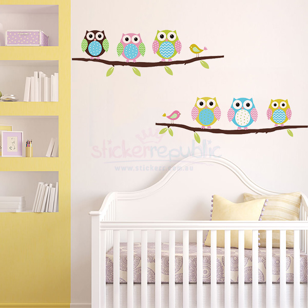 Six Lovely Owls on Branches Wall Sticker