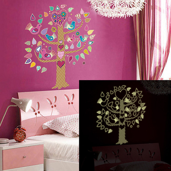 Glow in The Dark Heart Tree Wall Decal