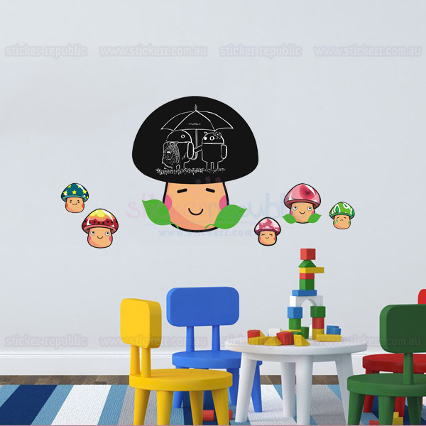 Cute Mushroom Chalkboard Wall Sticker