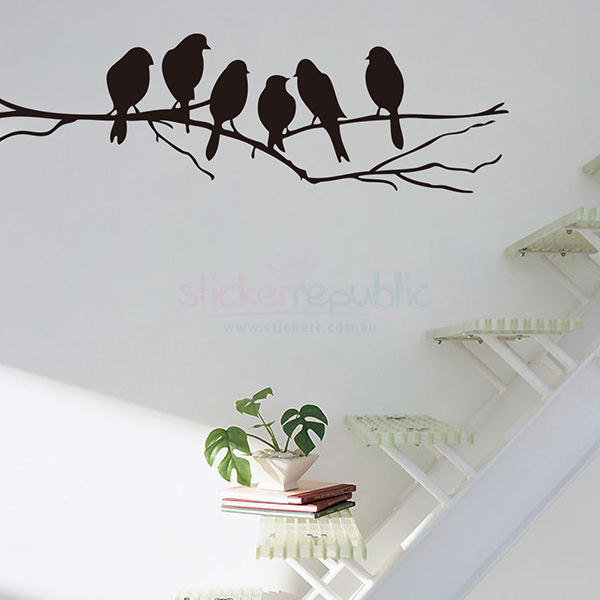Silhouette Birds Standing on Tree Branch Wall Decal