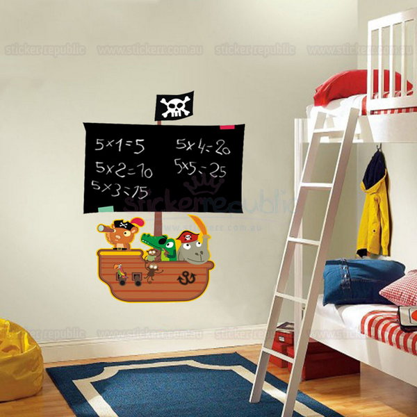 Pirate Ship Chalkboard Wall Decal|Blackboard Pirate Wall Sticker
