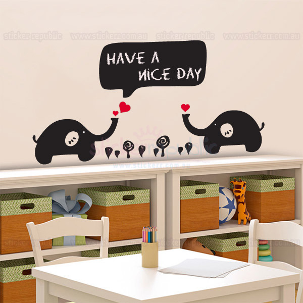 Two Baby Elephants Chalkboard Wall Decal