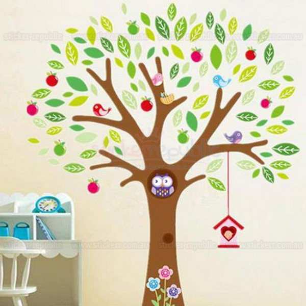 Enchanted Owl Tree Wall Sticker|Owls in Tree Wall Decal for Girl's Room Decor