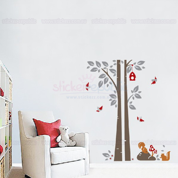 Squirrel and Birds Tree Wall Decal Sticker