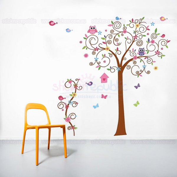 Swirly Tree with Owls and Birds Wall Sticker