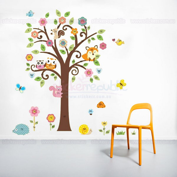 Bird Butterfly Owl Animal and Scroll Tree Wall Sticker - Large