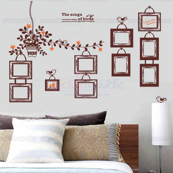 Brown Vines Photo Frame Wall Sticker
