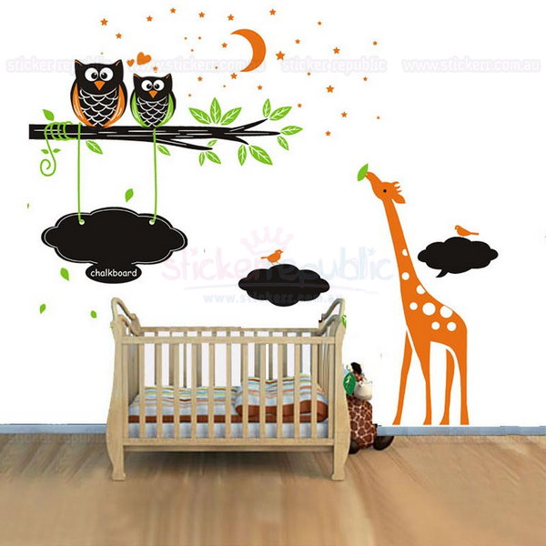 Owls and Giraffe Blackboard Wall Sticker for Kid's Room Wall Decor