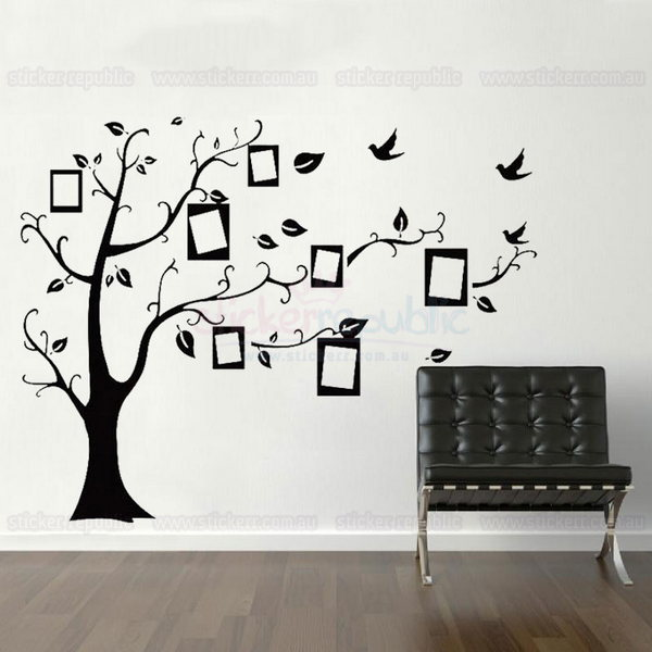 Black Memory Tree Photo Frame Wall Decal Sticker - Large