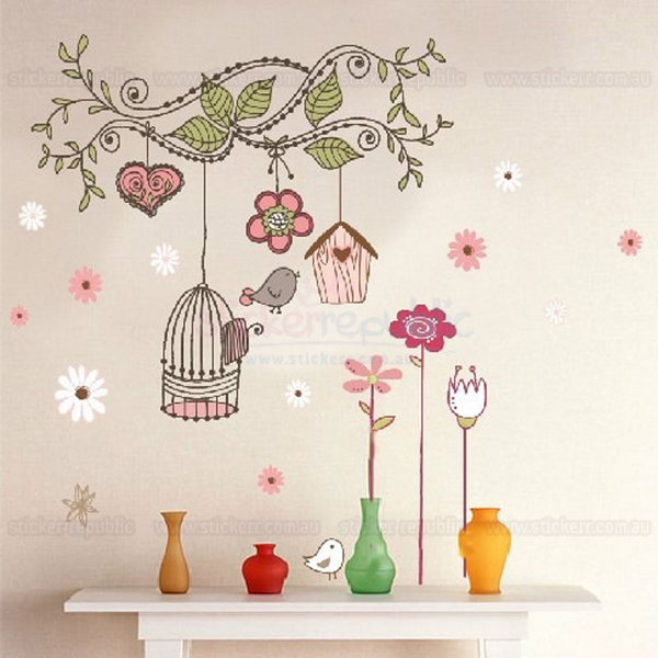 Blossoming Flowers and Bird House Wall Sticker