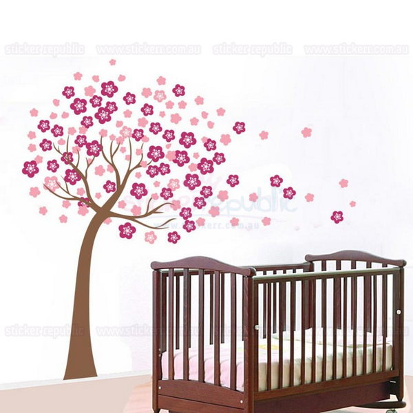 Pink Cherry Blossom Tree Wall Sticker for Girl's Room Decor