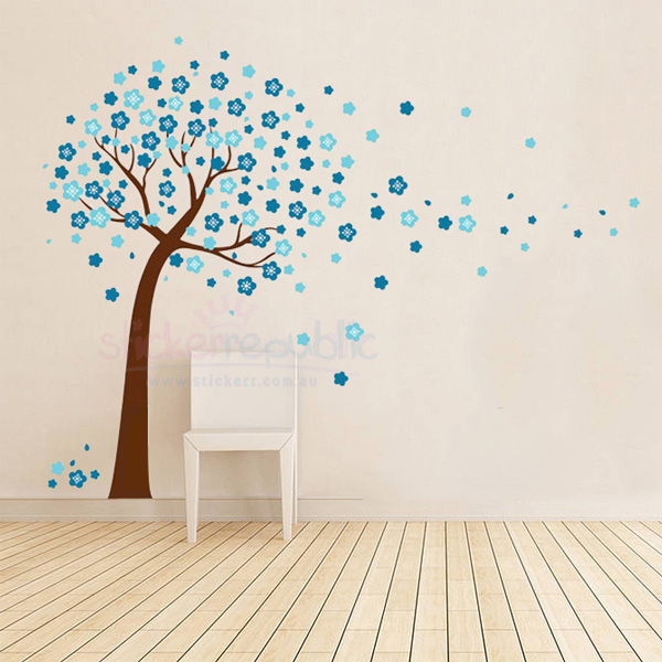 Blue Cherry Blossom Tree Wall Sticker for Boy's Room Decor