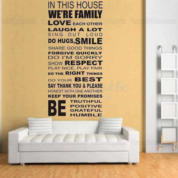 House Rules Words and Quotes Wall Decal