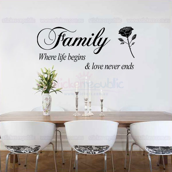 Family Where Life Begins Quotes Wall Decal