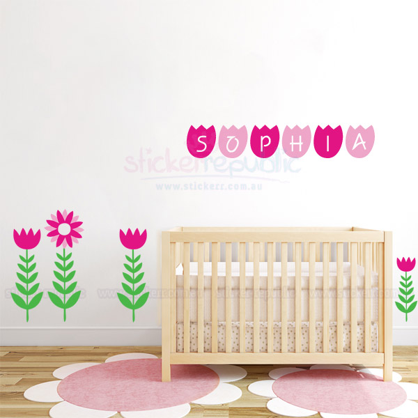 Custom Girl's Name with Tulips Wall Sticker