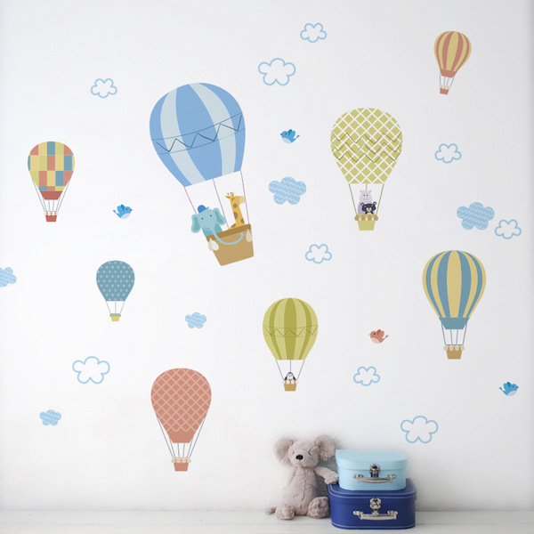 Animals on Flying Hot Air Balloons Wall Decal