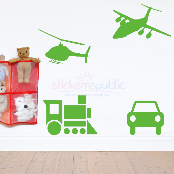 Kids Vinyl Airplane and Transport Wall Decals