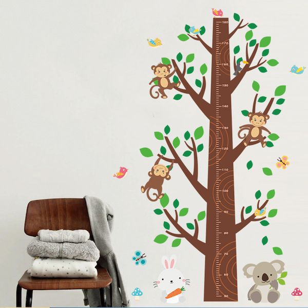 Jungle Animal Tree Height Chart Wall Decal