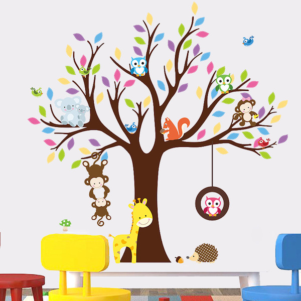 Koalas Monkeys and Owls on the Tree Wall Sticker