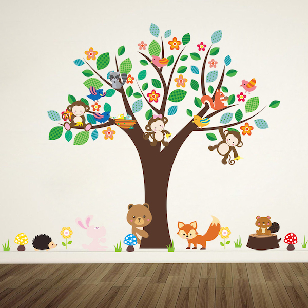 Spring Tree and Animals Wall Sticker