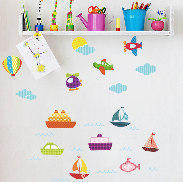 Kids Airplanes Boats and Hot Air Balloons Wall Stickers