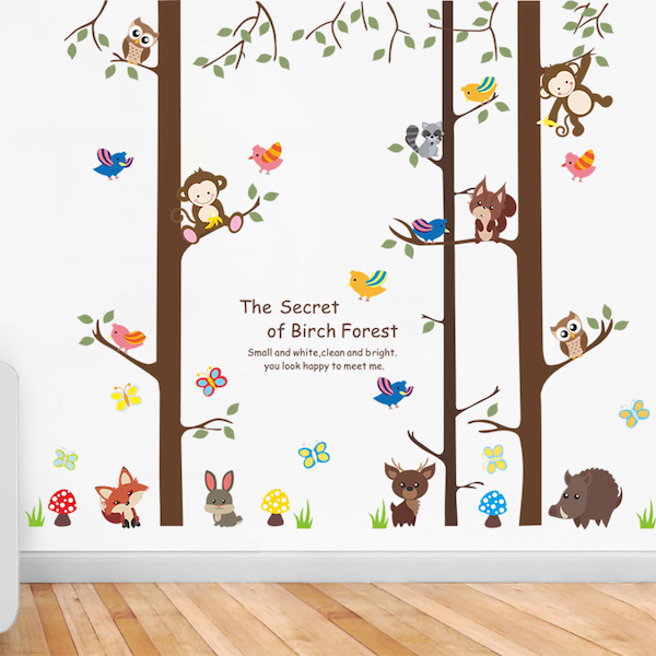 Small Birch Tree and Forest Animals Wall Sticker