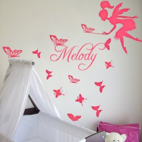 Custom Girl's Name with Fairy and Butterfly Wall Decal Sticker|Multiple Colours Available