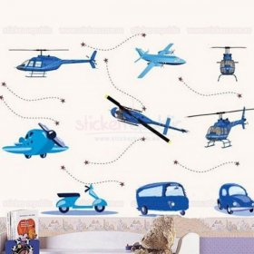 Aircrafts and Autos Wall Sticker for Boy's Room Decor