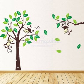 Monkeys Hanging Over Tree Wall Sticker|Monkey Tree Wall Decal - Large