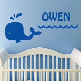 Happy Whale Custom Name Wall Sticker for Nursery