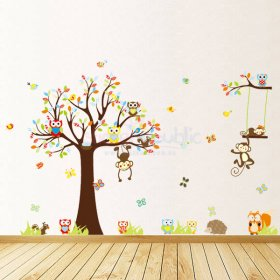 Animals and Large Tree Wall Decal|Owls and Monkey On a Colourful Tree Wall Sticker