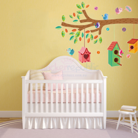 Colourful Bird House Tree Branch Wall Sticker