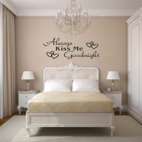 'Always Kiss Me Goodnight' Words with Heart Wall Decal