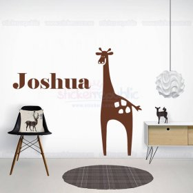 Large Giraffe and Custom Name Wall Sticker for Boy's Room Decor