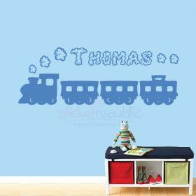 Custom Boy's Name with Train Wall Sticker