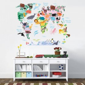 Colourful Animal World Map Wall Sticker