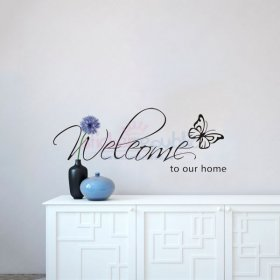Welcome To Our Home With a Butterfly Wall Decal